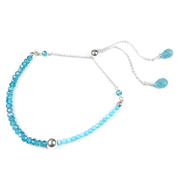 Mounir adjustable bracelet made on sterling silver, turquoise and blue zircon faceted beads. Retailing at £57. www.mounir.co.uk/index.php?route=product/product&path=60_113&product_id=1989&limit=100  #mounir #jewellery #bluezircon #adjustablebracelets #bracelets #turquoise #silver #sterlingsilver