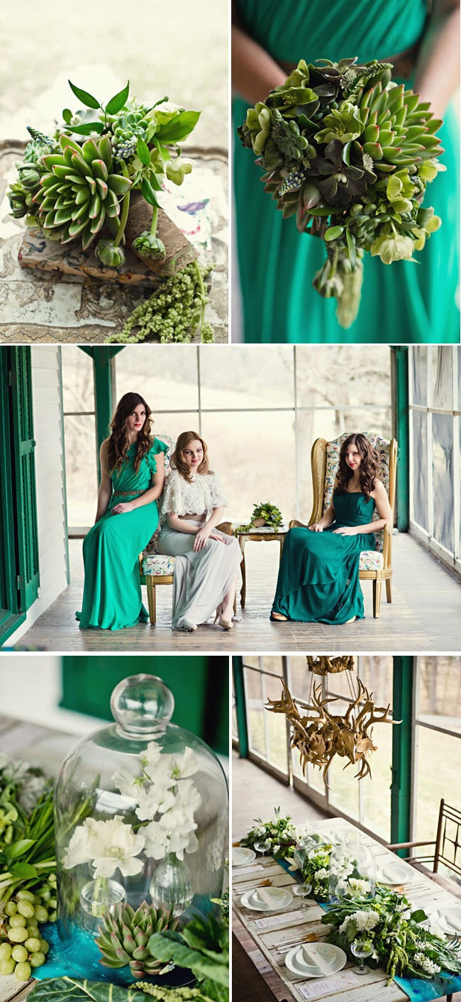 Emerald wedding inspiration, succulent bouquet www.madamebridal.com