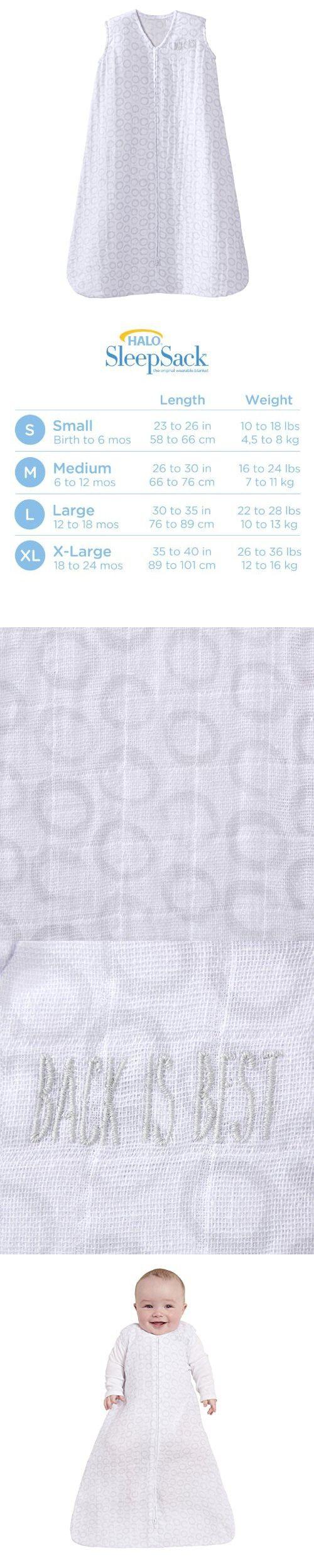 Halo 100% Cotton Muslin SleepSack Wearable Blanket, Circles Grey, Small