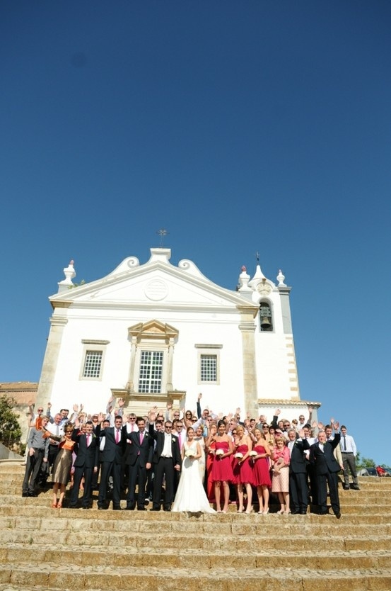 Wedding group photo at Estoi Church by Algarve Wedding Planners
