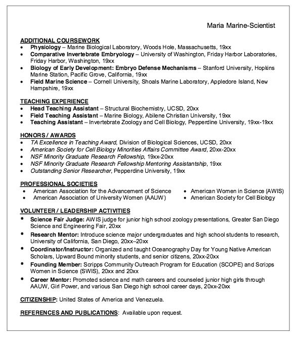 Biology Degree Resume Examples: Marine Biologist Resume Sample