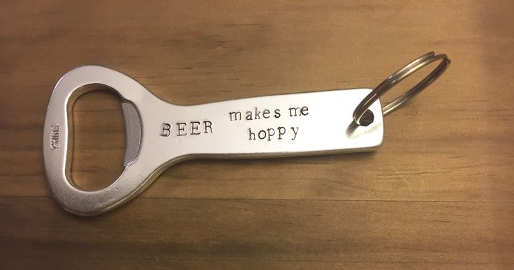 Beer Makes Me Hoppy bottle opener, gifts under 20, groomsmen gift, father of the bride gift, humor, beer lover gift, Father's Day gift by JustStampItGifts on Etsy https://www.etsy.com/listing/263088076/beer-makes-me-hoppy-bottle-opener-gifts