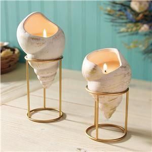 Seashell Candles & Stands - NEW Gifts | Lillian Vernon...LOVE THIS! New innovative way to have the beach in your home!