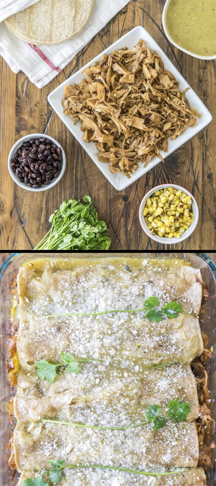 Vegan Enchiladas Verdes made with amazing pulled jackfruit and homemade green enchilada sauce!