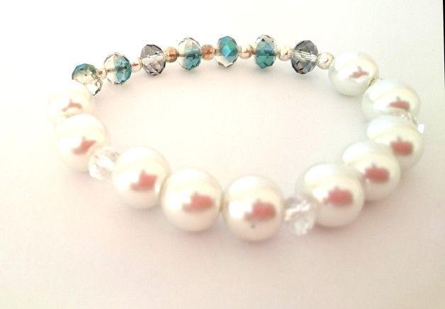 Bracelet, beads, glass, fire polish, pearl, wedding, bransoletka, szkło, koraliki, perły,