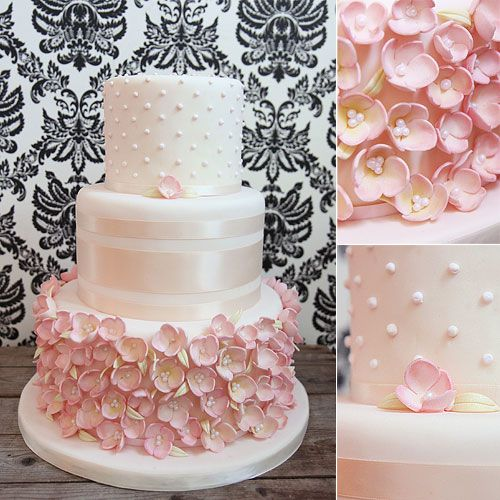 Wedding Cakes - Melissa L'Abbe Cakes - Pink wedding cake covered with pink sugar flowers and satin ribbon.