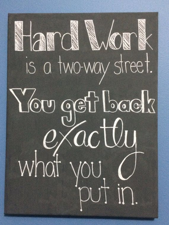 Hard Work is a Two Way Street. You Get Back Exactly What You Put In. Canvas Quote Art on Etsy, $12.00