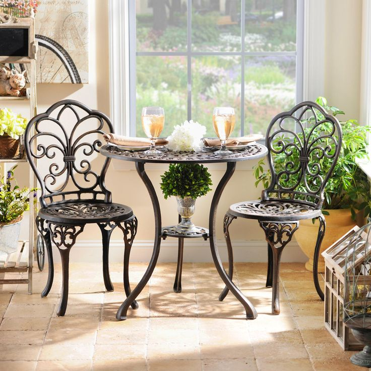 Transform part of your home into a cute little French cafe! Our Fluer-de-Lis Cast Iron Bistro Set is perfect for breakfast nooks or patios. We love how it combines elegant luxury with sturdy artistry.