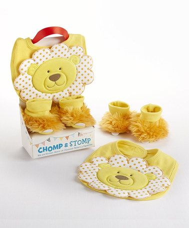 Another great find on #zulily! Yellow Chomp & Stomp Lion Bib & Booties by Baby Aspen #zulilyfinds