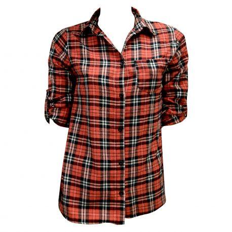 Πουκάμισο με λεπτό καρο κόκκινο μαύρο Flannel shirt in red and black