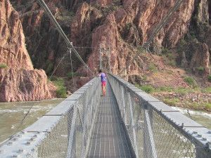 Crossing the Silver Bridge Over the Colorado River at Phantom Ranch,  When you see the Silver Bridge your trail to the bottom of the Grand Canyon is done.