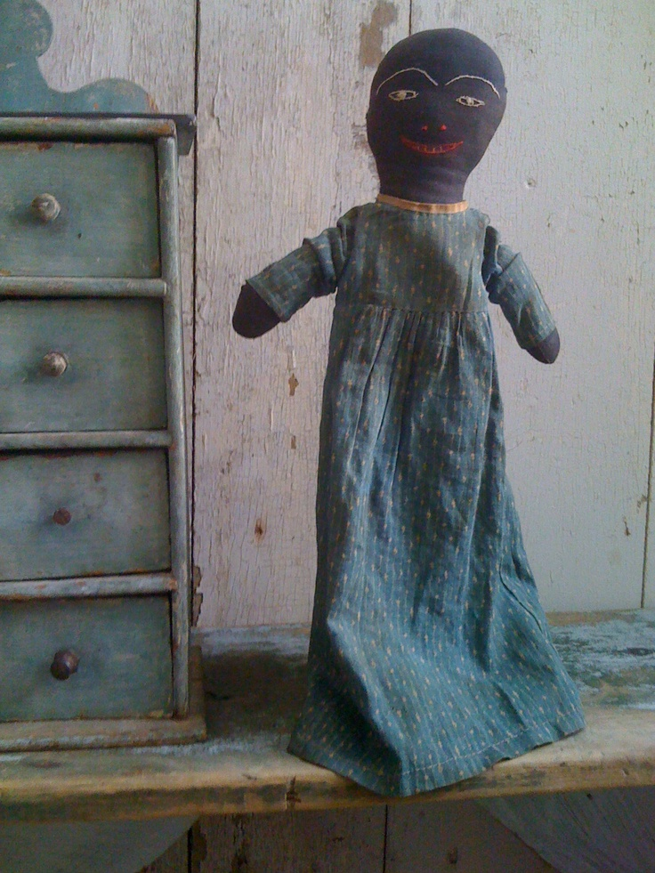 19Th C Early Rag Doll in original Calico Dress.