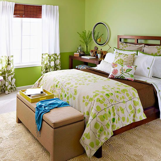 Leafy ferns, shades of green, and other natural elements provided the inspiration for this master bedroom makeover: http://www.bhg.com/rooms/bedroom/makeovers/green-bedroom/?socsrc=bhgpin053014gogreen&page=1