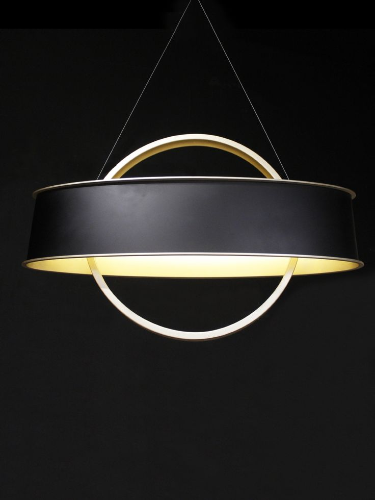Bespoke LED chandelier with a matte black outer oval and gold inner, Inner ring is also finished in a gold spray. Chandelier is suspended from catenary wire to a oval gold ceiling plate