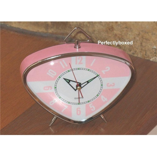 retro triangle pink alarm clock