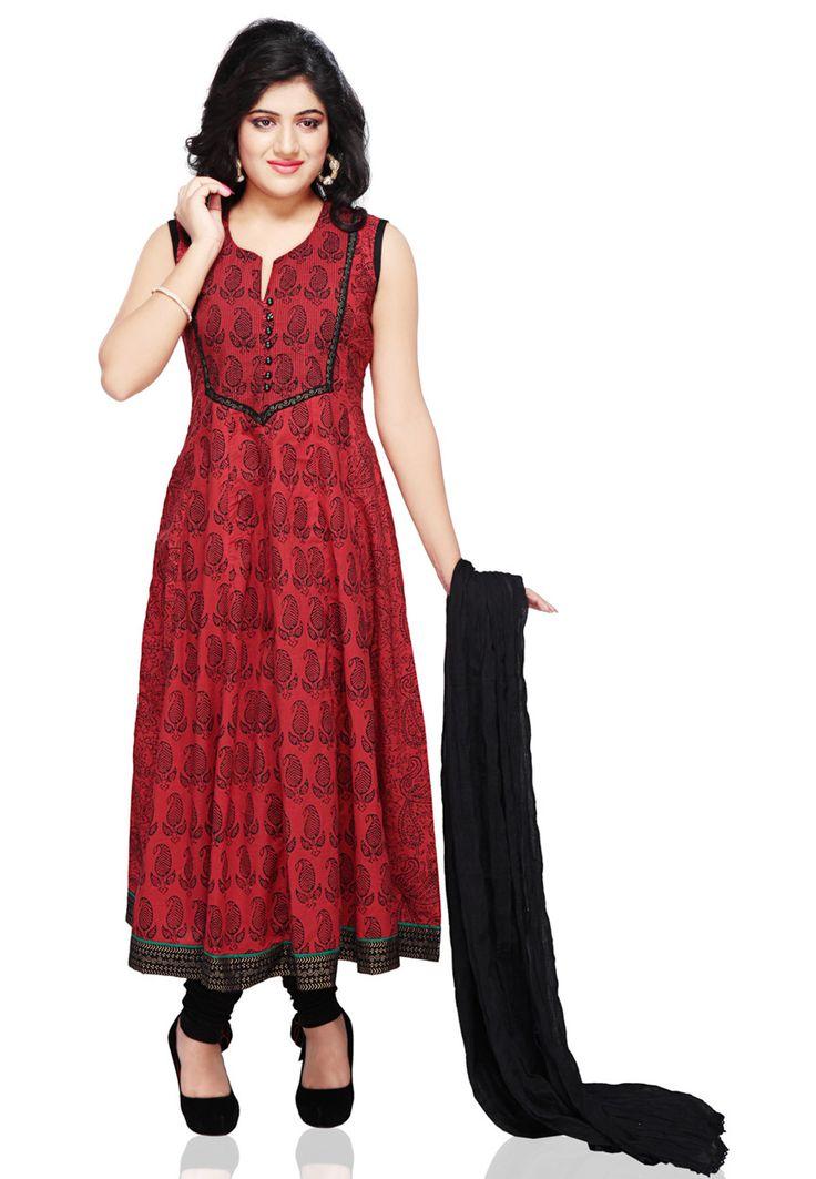 Buy Red Cotton Readymade Anarkali Legging Kameez online, work: Printed, color: Red, usage: Festival, category: Salwar Kameez, fabric: Cotton, price: $60.75, item code: KTV32, gender: women, brand: Utsav