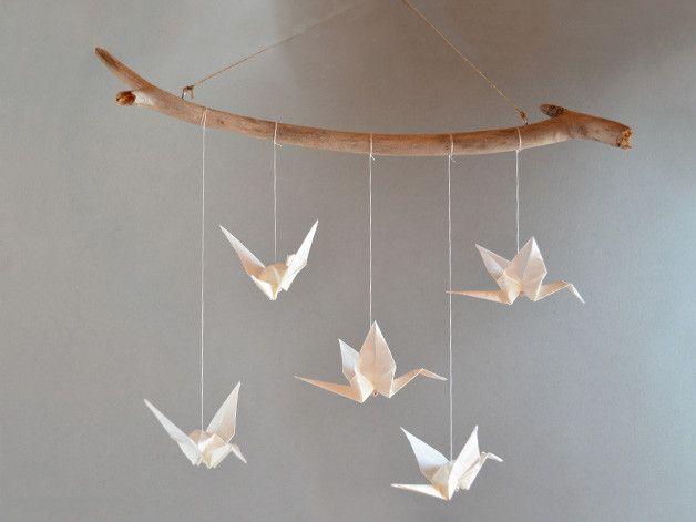 Traumfänger & Mobiles - Origami Mobile Kranich (weiß / transparent) klein - ein Designerstück von imago-info bei DaWanda