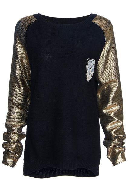 ROMWE   #ROMWE Diamante Skull Knitted Long-sleeved Jumper, The Latest Street Fashion