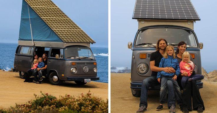 Dit gezin reist door Amerika in een Volkswagenbusje op zonne-energie