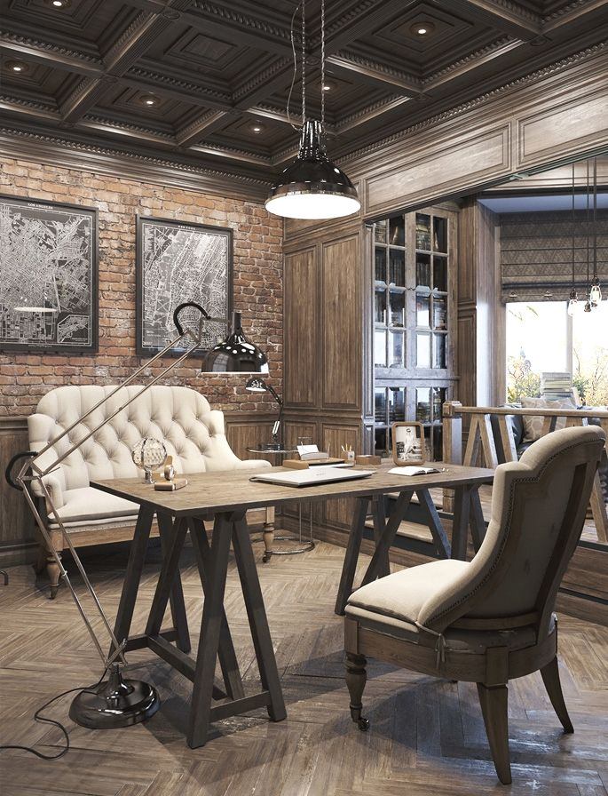 Awesome Vintage Decor Designs For A Brick Steel Home 02 Office Ideas