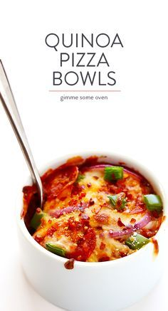 Easy Quinoa Pizza Bowls -- totally easy to customize with your favorite pizza toppings, and SO delicious!! (Bonus, they're also naturally gluten-free!) | gimmesomeoven.com