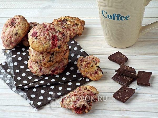 Малиновое печенье с шоколадом (на сливочном масле)