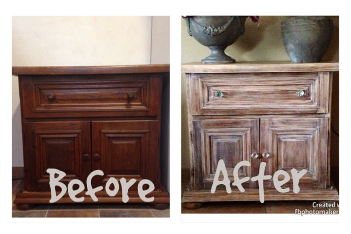 Liming wax over dark stain More