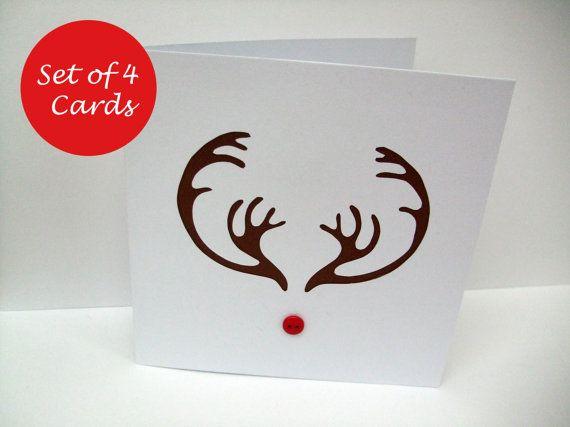 Weihnachtskarte Set - Paper Cut Rentier Geweih mit einer roten Knopf-Nase - Rudolph-Karten - Pack von 4 handgefertigte Grußkarten - Holiday Card