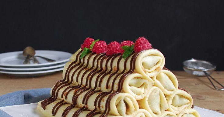 Chocolate raspberry stuffed pancake - Crepes rellenas de chocolate y frambuesa
