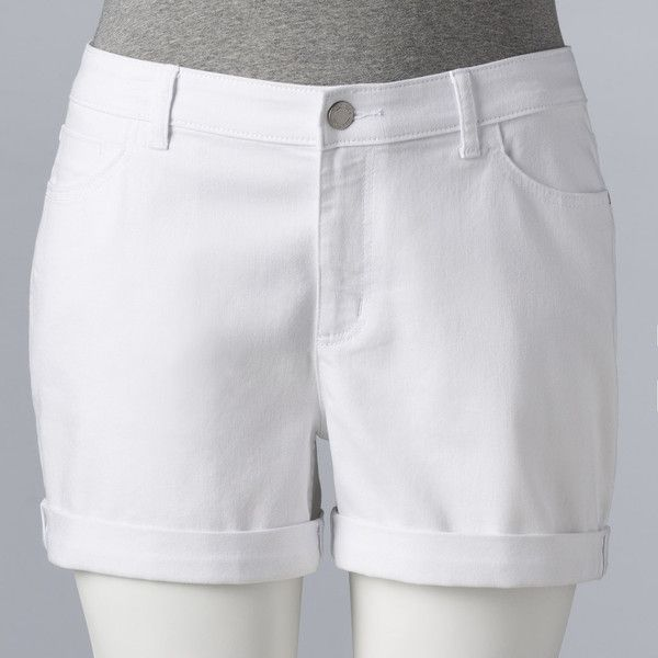 Plus Size Simply Vera Vera Wang Roll-Cuff Jean Shorts ($50) ❤ liked on Polyvore featuring shorts, plus size, white, white jean shorts, women's plus size shorts, short denim shorts, plus size white shorts and denim shorts
