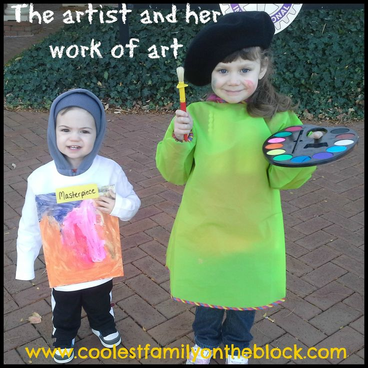 Cute last minute Halloween costumes.  Easy No Sew Artist and Masterpiece Sibling Costumes (@Jenn Rian (Coolest Family on the Block) http://www.coolestfamilyontheblock.com)