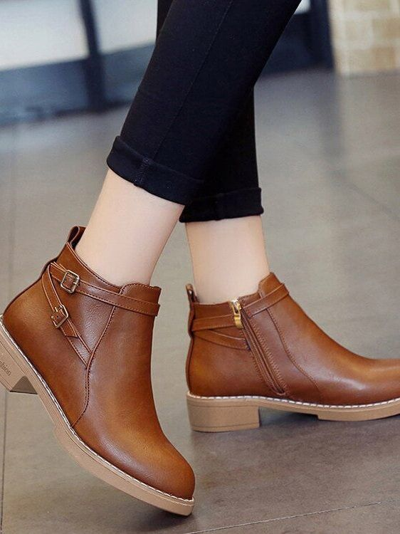 186a392d72 Casual Round Toe Ankle Side zipper Brown Low Heel Chunky Double Buckle  Heeled Boots