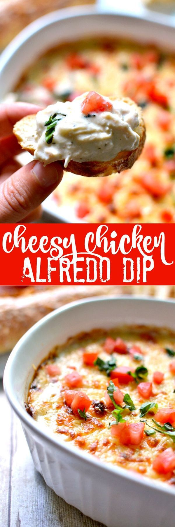 2 cup Chicken. 1 Basil, fresh. 1 Tomato. 1/2 cup Alfredo sauce. 1 (8 oz. package Cream cheese. 1 cup Mozzarella cheese. 1/2 cup Parmesan cheese, grated.