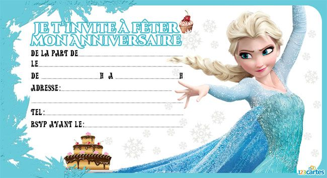 6 invitations anniversaire reine des neiges - 123 cartes
