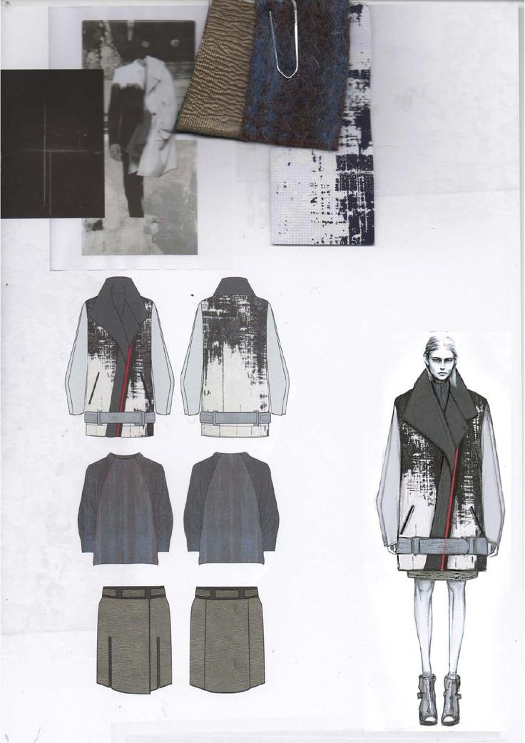 Fashion Sketchbook layout with fashion illustrations & fabric swatches; graduate fashion design portfolio // Amy Dee