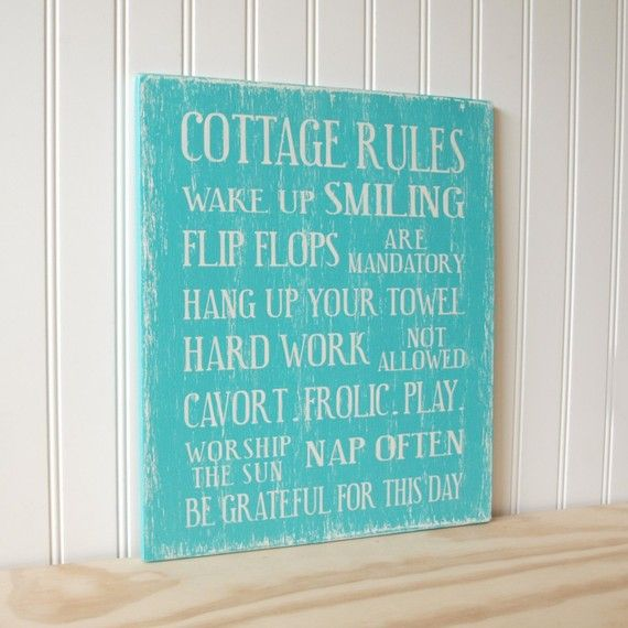 cute cottage rules sign. of course, frolic! ~ Anny