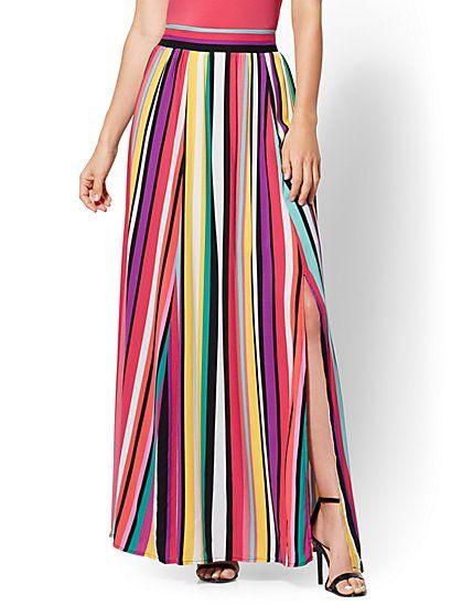 be4bd8109b3e 7th Avenue - Rainbow Stripe Maxi Skirt - New York & Company | skirts ...