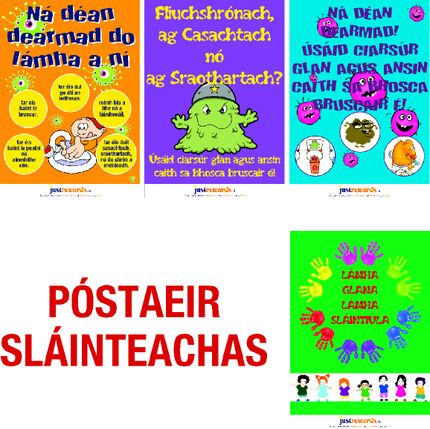 Irish Language : A3 Hygiene Posters as Gaeilge