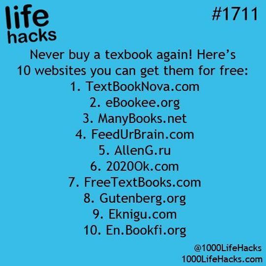 10+ College Life Hacks: Free, always free college books.