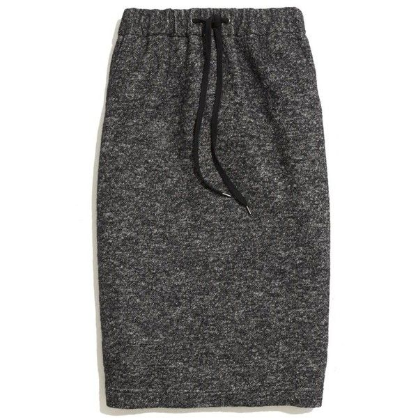 "A sporty-cool drawstring waist. A lean, stretchy shape. A just-below-the-knee length. Perfect. Midlength pencil. 26"" long. Cotton/wool/nylon. Dry clean. Import."