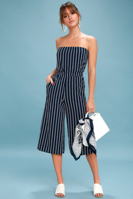 c16eec9fce91 Saltwater and Sun Navy Blue Striped Strapless Midi Jumpsuit 1