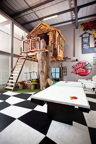 But if you believe that the tree is a necessary ingredient, just bring a hunk of one in. | 31 Ways To Make Your House A Kid's Paradise