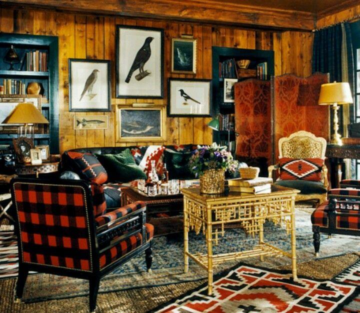 Cabin Decor Buffalo Plaid Chair Fishing Cabin