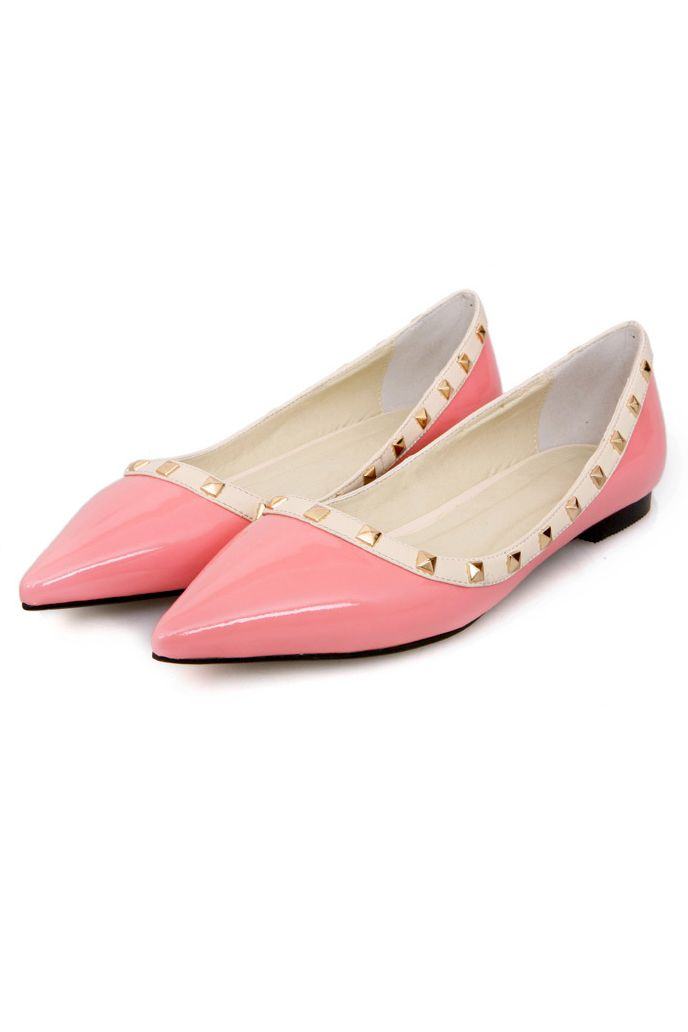 Candy Color Pointed Toe Flats with Rivets