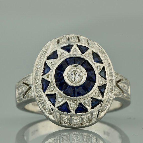 Art Deco inspired Sapphire and Diamond by AntiqueVelvetGloves