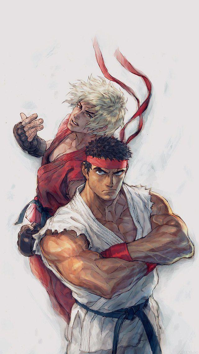 Anime Street Fighters Ryu Ken Art Illust  #iPhone #5s #wallpaper