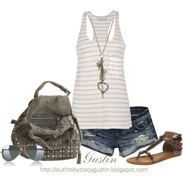 """""""striped tank"""" by stacy-gustin on Polyvore"""
