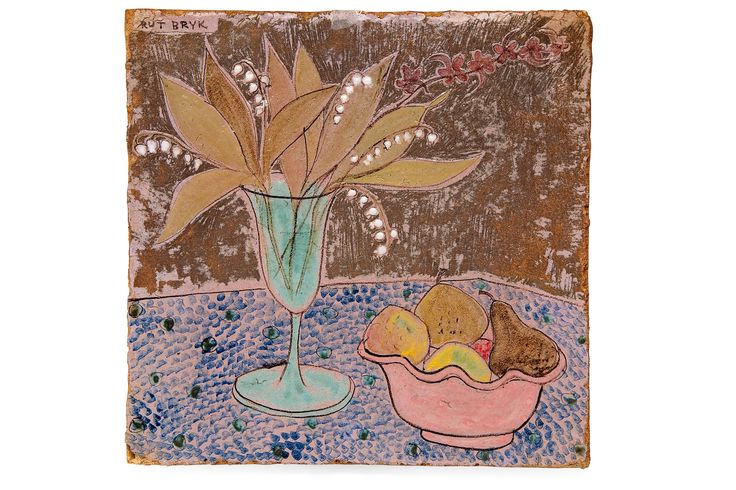 RUT BRYK, CERAMIC RELIEF. Still life. Signed Bryk. Coloured glazing. 1950s. 35x35 cm.