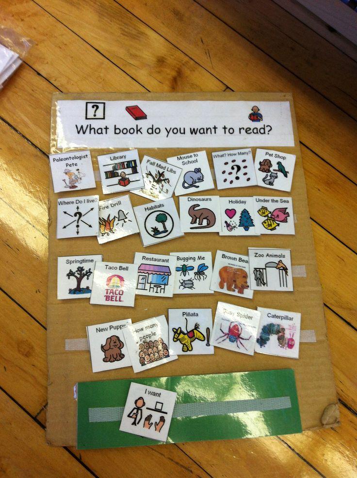Panel  con pictogramas para escoger un cuento para leer.