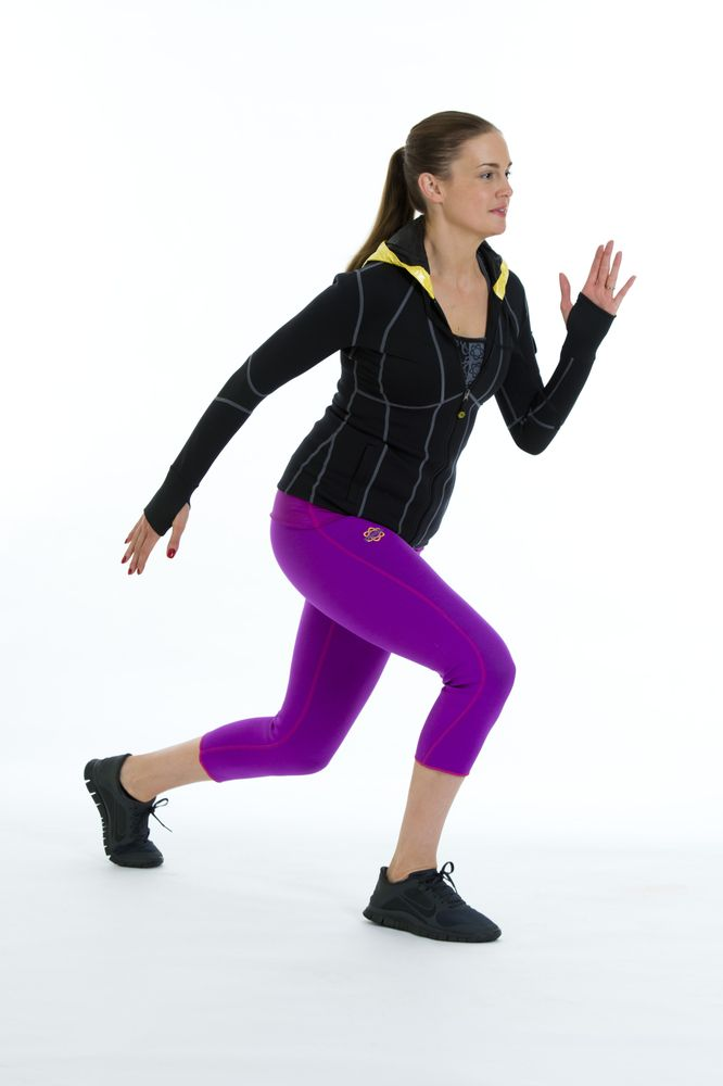 ROUND ONE: Ski Split Jumps  Start in a lunge position with one leg forward the other back.    Bend your back knee down towards the floor.   ...